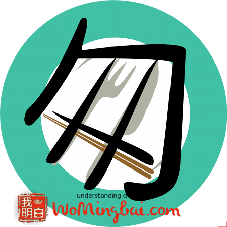chinese character hurriedly cong 匆 illustrated