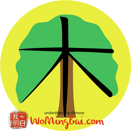 chinesisches zeichen baum holz mu 木 illustriert