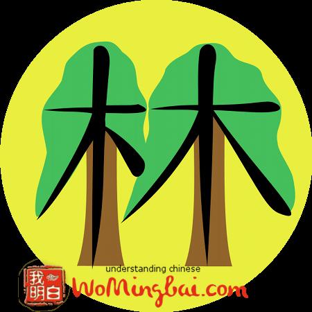chinesisches zeichen wald lin 林 illustriert